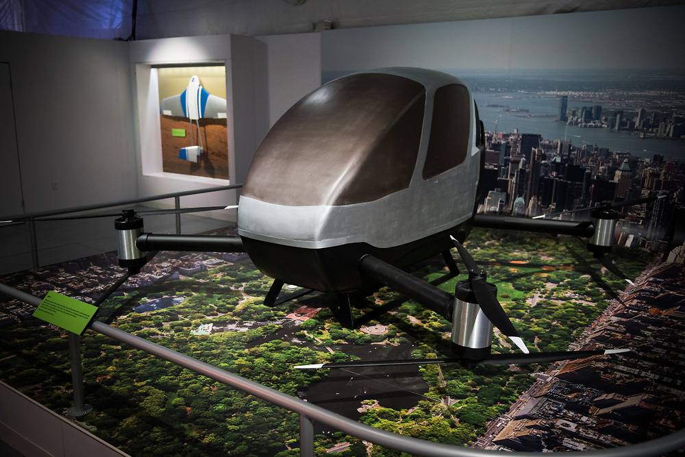 "30206010A - DRONES - A model of a Kairos flying car concept by Urban Aerial Solutions sits on display at the ""Drones: Is the Sky the Limit?"" exhibit at the Intrepid Sea, Air, and Space Museum in New York, NY on May 9, 2017."
