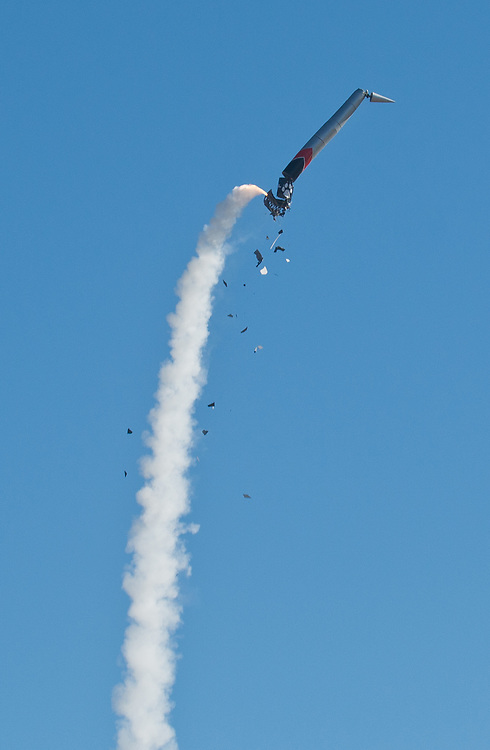 Lobo Launch's 47 feet high rocket breaks apart after traveling a couple hundred feet from a remote launch site in Rio Rancho, Saturday, May 27, 2017. The rocket was built by a mechanical engineering class at the University of New Mexico. (Marla Brose/Albuquerque Journal)