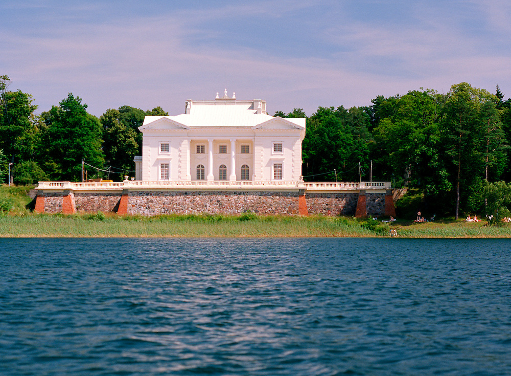 A view of the Uzutrakis Palace from Lake Galve, near Trakai, Lithuania