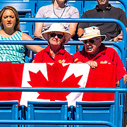 August 22, 2016, New Haven, Connecticut: <br /> Fans cheer for Eugenie Bouchard of Canada during a match on Day 4 of the 2016 Connecticut Open at the Yale University Tennis Center on Monday August  22, 2016 in New Haven, Connecticut. <br /> (Photo by Billie Weiss/Connecticut Open)