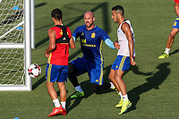 Spanish Lucas Vazquez and Pepe Reina during the first training of the concentration of Spanish football team at Ciudad del Futbol de Las Rozas before the qualifying for the Russia world cup in 2017 August 29, 2016. (ALTERPHOTOS/Rodrigo Jimenez)