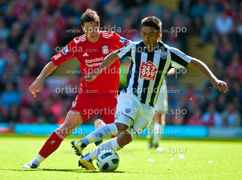 29.08.2010, Anfield, Liverpool, ENG, PL, Liverpool FC vs West Bromwich Albion?, im Bild Liverpool's Fernando Torres and West Bromwich Albion's Gonzalo Jara during the Premiership match at Anfield, EXPA Pictures © 2010, PhotoCredit: EXPA/ Propaganda/ D. Rawcliffe *** ATTENTION *** UK OUT! / SPORTIDA PHOTO AGENCY