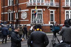 A large contingent of the international media gather outside the Ecuadorian embassy. A small group of Julian Assange supporters gather outside the embassy of Ecuador where the Wikileaks founder has been holed up for nearly six years. His arrest warrant for breaching bail conditions has been upheld by Westminster Magistrates Court. London, February 13 2018.