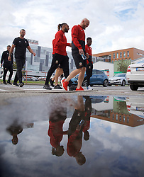 BRATISLAVA, SLOVAKIA - Thursday, October 10, 2019: Wales' captain Ashley Williams (L) and Jonathan Williams during a pre-match team walk near the Hotel NH Bratislava Gate One ahead of the UEFA Euro 2020 Qualifying Group E match between Slovakia and Wales. (Pic by David Rawcliffe/Propaganda)