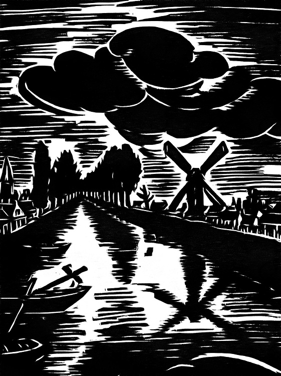 Black / white drawing of a mill on a river