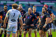 WP Nel (#3) and Pierre Schoeman (#1) of Edinburgh Rugby wait for the television match official to make a decision during the 1872 Cup second leg Guinness Pro14 2019_20 match between Edinburgh Rugby and Glasgow Warriors at BT Murrayfield Stadium, Edinburgh, Scotland on 28 December 2019.