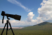 A telephoto lens silhouetted against the sky, Ethiopia