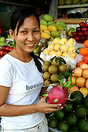 Dragonfruit at Ben Thanh Market - The dragonfruit may look exotic and appealing, and in fact it does have a pleasant taste though not nearly as strong and outlandish as its peel may hint at.