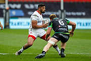 Ulster wing Charles Piutau side-steps Ospreys flanker Sam Underhill during the Guinness Pro 12 2017 Round 21 match between Ospreys and Ulster at the Liberty Stadium, Swansea, Wales on 29 April 2017. Photo by Andrew Lewis.