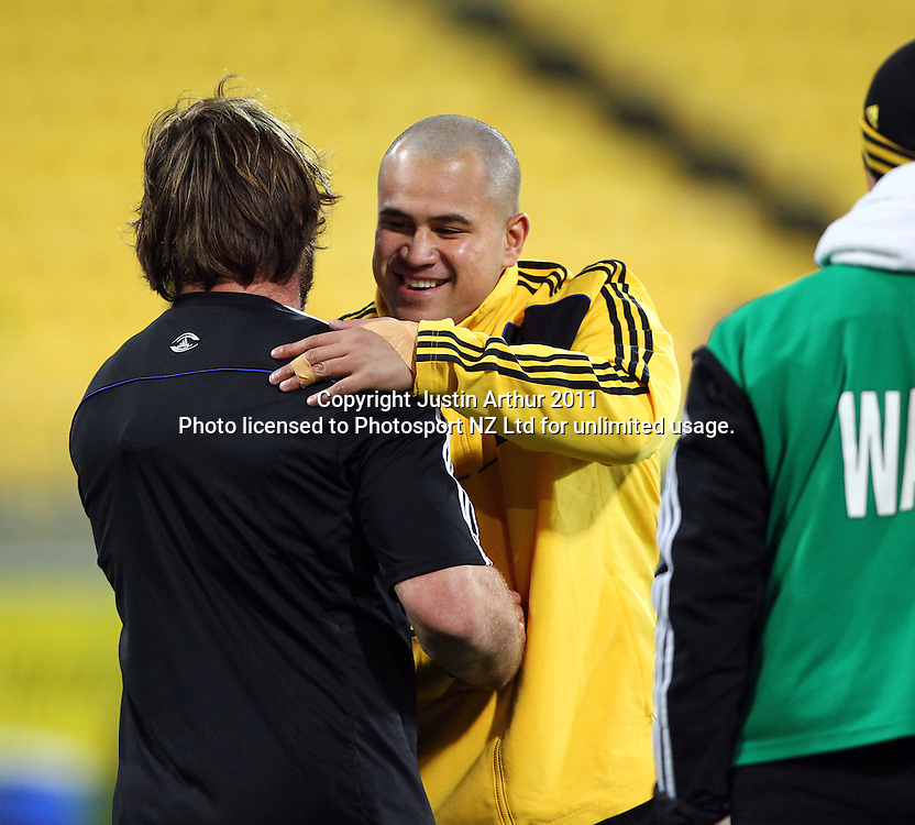 Andrew Hore and John Schwalger before the game.Super15 rugby union match - Crusaders v Hurricanes at Westpac Stadium, Wellington, New Zealand on Saturday, 18 June 2011. Photo: Justin Arthur / photosport.co.nz