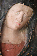 close up of the face of Maria the mother of Jesus in agony