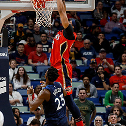 Nov 29, 2017; New Orleans, LA, USA; New Orleans Pelicans forward Anthony Davis (23) dunks over Minnesota Timberwolves guard Jimmy Butler (23) during the first quarter of a game at the Smoothie King Center. Mandatory Credit: Derick E. Hingle-USA TODAY Sports