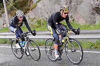 Sykkel<br /> Tour des Fjords 2015<br /> Foto: imago/Digitalsport<br /> NORWAY ONLY<br /> <br /> Attacke von Adrian GJØLBERG ( NOR / Team ixIT.no ) mit Ronan VAN ZANDBEEK ( NED / Cyclingteam Join s De Rijke ) - Aktion - Rennszene - Querformat - quer - horizontal - Event / Veranstaltung: Tour des Fjords - Fjord Rundfahrt 2015 - Stage 1 / 1.Etappe: Bergen nach Norheimsund 177.0 km - Location / Ort: Norheimsund - Norway - Norwegen - Europe - Europa - Date / Datum: 27.05.2015
