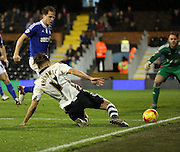 Fulham attacker Alex Kacaniklic (Kacaniklic) trying to keep the ball alive for a Fulham attack during the Sky Bet Championship match between Fulham and Ipswich Town at Craven Cottage, London, England on 15 December 2015. Photo by Matthew Redman.