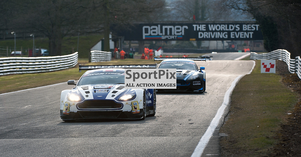 The two Aston's of Beechdean AMR, Andrew Howard & Jonny Adam, Aston Martin Vantage GT3, GT3 and PGF-Kinfaun AMR, Phil Dryburgh & John Gaw, Aston Martin Vantage GT3, GT3 - during qualifying at the first round of the Avon Tyres British GT Championship held at Oulton Park, Cheshire, UK.  30th March 2013 WAYNE NEAL | STOCKPIX.EU