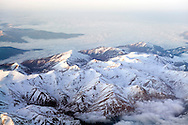 Spain. The Pyrenees covered in snow on the approach to Barcelona..Photos ©Steve Forrest