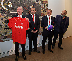 ADELAIDE, AUSTRALIA - Sunday, July 19, 2015: Liverpool's Managing Director Ian Ayre presents a shirt during a visit to the Art Gallery of South Australia ahead of a preseason friendly match against Adelaide United on day seven of the club's preseason tour. (Pic by David Rawcliffe/Propaganda)