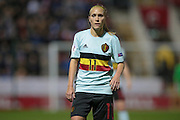 Goalscorer Janice Cayman (Belgium) during the Euro 2017 qualifier between England Ladies and Belgium Ladies at the New York Stadium, Rotherham, England on 8 April 2016. Photo by Mark P Doherty.