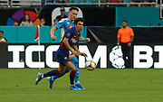 FC Barcelona midfielder Riqui Puig (28) races to a loose ball in a game against SSC Napoli during a La Liga-Serie A Cup soccer match, Wednesday, Aug. 7, 2019, in Miami Gardens, Fla. FC Barcelona beat Napoli 2-1 (Kim Hukari/Image of Sport)