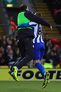 Picture by David Horn/Focus Images Ltd +44 7545 970036<br /> 14/12/2013<br /> Connor Wickham of Sheffield Wednesday (right) celebrates scoring the opening goal during the Sky Bet Championship match at Vicarage Road, Watford.