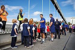 Ben Mosses looks on as Local Junior Schools take part in activities on the iconic Clifton Suspension Bridge with Bristol Rugby Players - Mandatory byline: Rogan Thomson/JMP - 07966 386802 - 14/07/2015 - SPORT - RUGBY UNION - Bristol, England - Clifton Suspension Bridge - Webb Ellis Cup visits Bristol as part of the 2015 Rugby World Cup Trophy Tour