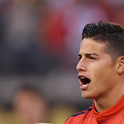 EAST RUTHERFORD, NEW JERSEY - JUNE 17: James Rodriguez #10 of Colombia during team presentations before the Colombia Vs Peru Quarterfinal match of the Copa America Centenario USA 2016 Tournament at MetLife Stadium on June 17, 2016 in East Rutherford, New Jersey. (Photo by Tim Clayton/Corbis via Getty Images)