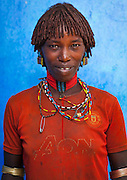 Hamer Tribe Woman With A Manchester United  Football Shirt, Turmi, Omo Valley, Ethiopia