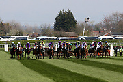 They're off for the start of the first race the 1:45pm The Gaskells Handicap Hurdle (Grade 3) during the Grand National Meeting at Aintree, Liverpool, United Kingdom on 6 April 2019.