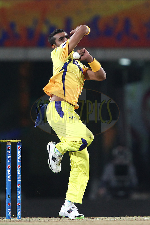 Ravindra Jadeja of The Chennai Super Kings sends down a delivery during match 21 of the Pepsi Indian Premier League Season 2014 between the Chennai Superkings and the Kolkata Knight Riders  held at the JSCA International Cricket Stadium, Ranch, India on the 2nd May  2014<br /> <br /> Photo by Shaun Roy / IPL / SPORTZPICS<br /> <br /> <br /> <br /> Image use subject to terms and conditions which can be found here:  http://sportzpics.photoshelter.com/gallery/Pepsi-IPL-Image-terms-and-conditions/G00004VW1IVJ.gB0/C0000TScjhBM6ikg