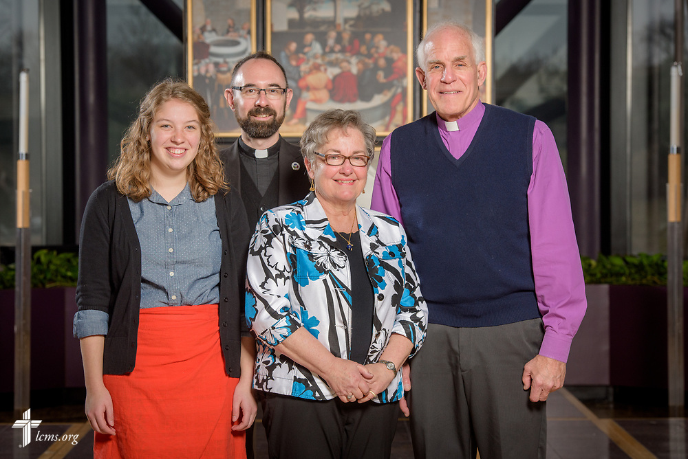 Portrait of the Rev. Charles Ferry, regional director of LCMS Asia, along with new missionaries Hannah Shull and the Rev. Ron and Mary Anne Rall following a Service of Sending for new missionaries on Friday, March 16, 2018, in the chapel of the International Center of The Lutheran Church–Missouri Synod in St. Louis.  LCMS Communications/Erik M. Lunsford