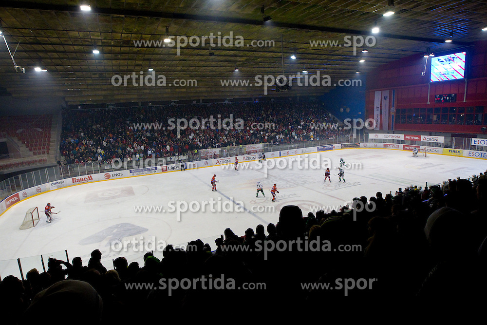 Arena during ice hockey match between HK Acroni Jesenice and  HDD Tilia Olimpija Ljubljana at 33rd Round of EBEL league, on January 1, 2011 in Arena Podmezakla, Jesenice, Slovenia. (Photo By Vid Ponikvar / Sportida.com)
