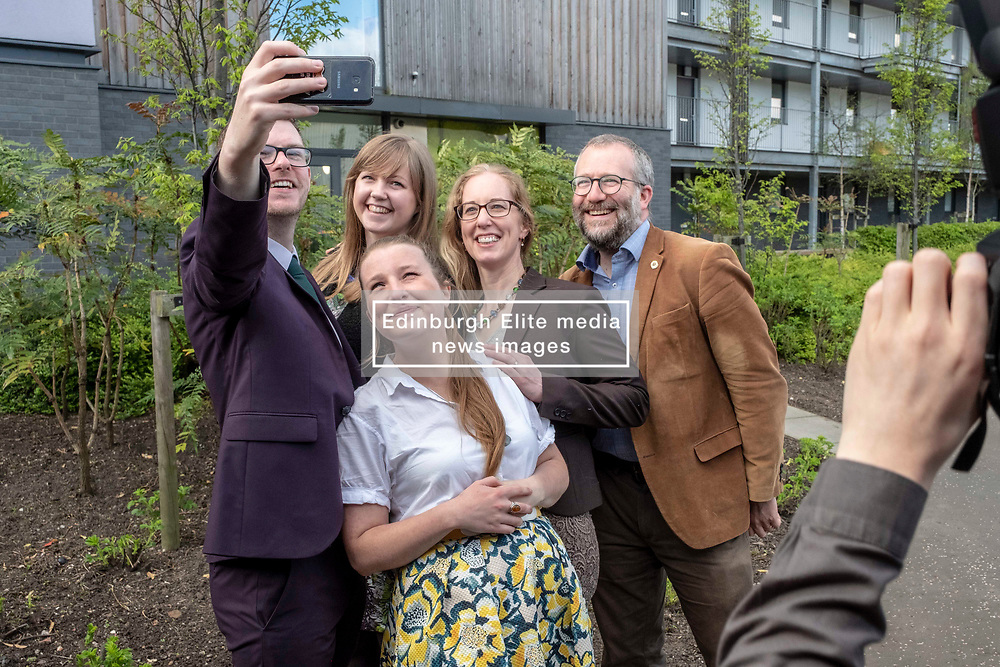 Pictured:  Allan Faulds,  Gillian Mackay,  Lorna Slater (glasses) Chas Booth and Mags Hall (white blouse)<br />   <br /><br />The Scottish Greens unveiled their list of candidates for the forthcoming EU election in Edinburgh today.<br /><br />The party's Co-Convenor Patrick Harvie MSP introduced the lead candidate, Maggie Chapman, and announced the full list at the Welcoming Association's HQ.  Mr Harvie and Ms Chapman took the opportunity to meet with EU citizens who are new to Edinburgh and learning English at the centre.<br /><br />The full list is as follows:<br />1.    Maggie Chapman<br />2.    Lorna Slater<br />3.    Gillian Mackay<br />4.    Chas Booth<br />5.    Mags Hall<br />6.    Allan Faulds<br /><br />Ger Harley   EEm 25 April 2019