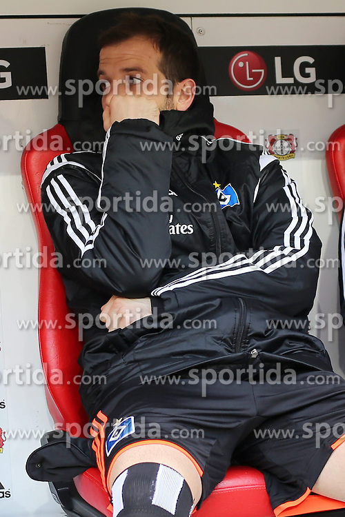 04.04.2015, BayArena, Leverkusen, GER, 1. FBL, Bayer 04 Leverkusen vs Hamburger SV, 27. Runde, im Bild Kapitaen Rafael van der Vaart (Hamburger SV #23) auf der Ersatzbank // during the German Bundesliga 27th round match between Bayer 04 Leverkusen and Hamburger SV at the BayArena in Leverkusen, Germany on 2015/04/04. EXPA Pictures &copy; 2015, PhotoCredit: EXPA/ Eibner-Pressefoto/ Sch&uuml;ler<br /> <br /> *****ATTENTION - OUT of GER*****