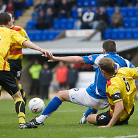 St Johnstone v Partick Thistle....25.10.08<br /> Derek Holmes is brought down by Ian Maxwell for a penalty<br /> Picture by Graeme Hart.<br /> Copyright Perthshire Picture Agency<br /> Tel: 01738 623350  Mobile: 07990 594431