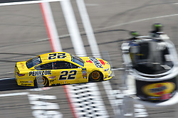March 4, 2018 - Las Vegas, NV, U.S. - LAS VEGAS, NV - MARCH 04: Joey Logano (22) Team Penske Pennzoil Ford Fusion crosses the starting line to complete a lap during the Monster Energy NASCAR Cup Series Pennzoil 400 on March 04, 2018 at Las Vegas Motor Speedway in Las Vegas, NV. (Photo by Chris Williams/Icon Sportswire) (Credit Image: © Chris Williams/Icon SMI via ZUMA Press)