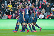 Julian Draxler (PSG) scored a goal and celebrated it with Thiago Silva (PSG), Edinson Roberto Paulo Cavani Gomez (psg) (El Matador) (El Botija) (Florestan), Presnel Kimpembe (PSG), DIARRALassana (psg) during the French Championship Ligue 1 football match between Paris Saint-Germain and RC Strasbourg on february 17, 2018 at Parc des Princes stadium in Paris, France - Photo Stephane Allaman / ProSportsImages / DPPI