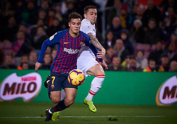January 13, 2019 - Barcelona, U.S. - BARCELONA, SPAIN - JANUARY 13: Philippe Coutinho, forward of FC Barcelona competes for the ball with Ruben Pe–a, defender of SD Eibar during the La Liga match between FC Barcelona and SD Eibar at Camp Nou Stadium on January 13, 2019 in Barcelona, Spain. (Photo by Carlos Sanchez Martinez/Icon Sportswire) (Credit Image: © Carlos Sanchez Martinez/Icon SMI via ZUMA Press)