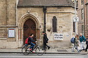 A polling station on Downing street in central Cambridge on May 4th, 2017 during local elections in the city. Photos by Antonio Olmos