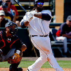 Feb 27, 2013; Lakeland, FL, USA; Detroit Tigers first baseman Prince Fielder (28) at bat against the Atlanta Braves during the bottom of the fourth inning of a spring training game at Joker Marchant Stadium. Mandatory Credit: Derick E. Hingle-USA TODAY Sports