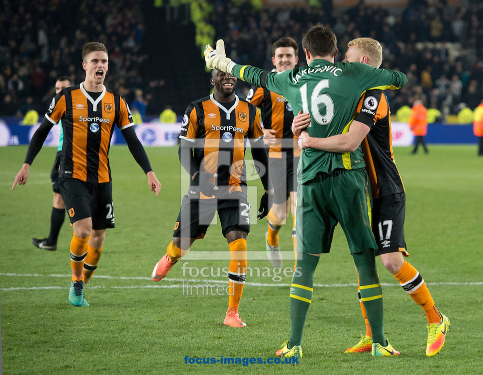 The Hull City team celebrate with goalkeeper Eldin Jakupovic after winning a penalty shoot out during the EFL Cup match at the KCOM Stadium, Hull<br /> Picture by Russell Hart/Focus Images Ltd 07791 688 420<br /> 29/11/2016