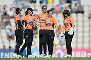Fi Morris and Southern Vipers celebrate the wicket of Beth Langston during the Women's Cricket Super League match between Southern Vipers and Yorkshire Diamonds at the Ageas Bowl, Southampton, United Kingdom on 8 August 2018.