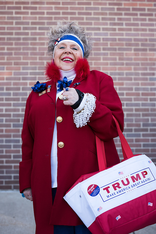 Valerie Schmitt of Naperville lines up early for the Trump rally.