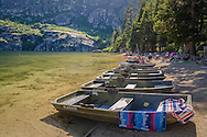 Boats on beach at Angora Lakes, Eldorado National Forest, near South Lake Tahoe, California