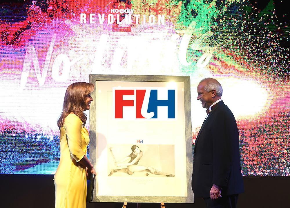 DUBAI, UNITED ARAB EMIRATES - NOVEMBER 11: HRH Princess Haya bint Al Hussein recieves gift from the FIH President Leandro Negre at the Hockey Revolution Part 2 No Limits Ball on November 11, 2016 in Dubai, United Arab Emirates.  (Photo by Tom Dulat/Getty Images)