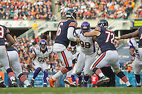 25 November 2012: Quarterback (6) Jay Cutler of the Chicago Bears drops back to pass against the Minnesota Vikings during the second half of the Bears 28-10 victory over the Vikings in an NFL football game at Soldier Field in Chicago, IL.
