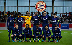 MUNICH, GERMANY - Wednesday, December 11, 2019: Tottenham Hotspur' players line-up for a team group photograph before the final UEFA Youth League Group B match between FC Bayern München and Tottenham Hotspur at the FC Bayern Campus. Back row L-R: J'Neil Bennett, Rodel Richards, goalkeeper Joshua Oluwayemi, Tashan Oakley-Boothe, Luis Binks, captain Jamie Bowden. Front row L-R: Harvey White, Malachi Walcott, Brooklyn Lyons-Foster, Dilan Markanday, Dennis Cirken. (Pic by David Rawcliffe/Propaganda)
