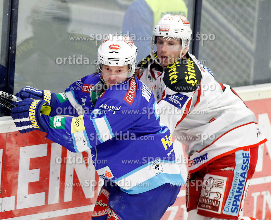 13.01.2013, Stadthalle, Villach, AUT, EBEL, EC VSV vs EC KAC, 41. Runde, im Bild Andreas Wiedergut (VSV,#33) und Kirk Furey (KAC,#25) // during the Erste Bank Icehockey League 41th Round match between EC VSV vs EC Red Bull Salzburg at the City Hall, Villach, Austria, 2013/01/13, EXPA Pictures © 2013, PhotoCredit: EXPA/ Oskar Hoeher