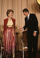 Ronald Reagan introduces Nancy Reagan at a dinner at the American Enterprise Institute in Decomber 1980..Photograph by Dennis Brack bb 34