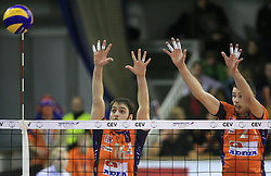 Angel Perez and Alen Pajenk of ACH Volley at volleyball match of CEV Indesit Champions League Men 2008/2009 between ACH Volley Bled (SLO) and Beauvais Oise (FRA), on December 11, 2008 in Hala Tivoli, Ljubljana, Slovenia. (Photo by Vid Ponikvar / Sportida)