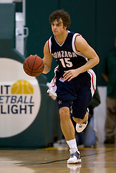 January 30, 2010; San Francisco, CA, USA;  Gonzaga Bulldogs guard Matt Bouldin (15) during the second half against the San Francisco Dons at the War Memorial Gym.  San Francisco defeated Gonzaga 81-77 in overtime.